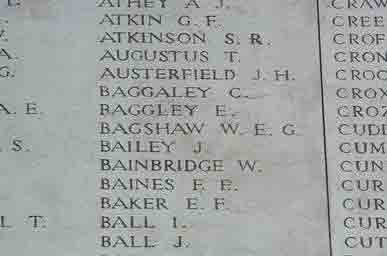 Private Bagshaw's name on The Menin Gate Memorial
