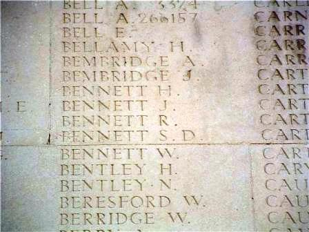 Pt. Bennett's name on The Thiepval Memorial