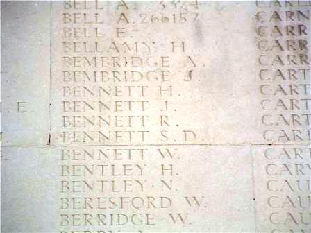 Pt William Bennett's name on the Memorial