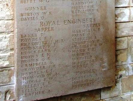 Spr. Bowder's name on the memorial