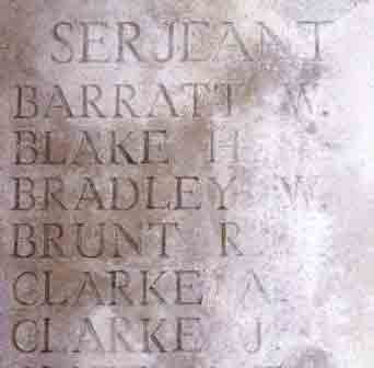 Sgt Brunt's name on The Pozieres Memorial