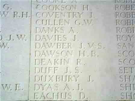 L/Cpl Dawson's name on the Memorial