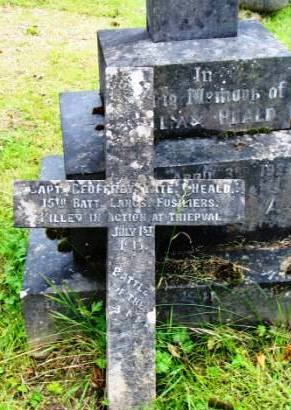 Geoffrey's Memorial Cross alongside his parents' grave