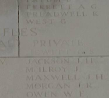 Pt Hewitt's name on the Memorial