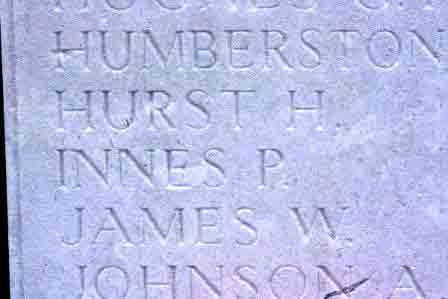 Percy Innes' name on The Loos Memorial