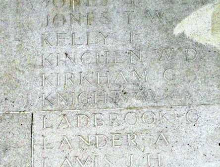 George's name on the Memorial