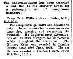 Capt. Lister's citation for his second Bar to his MC