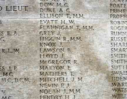 Cpl. Lloyd's name on The Tyne Cot Memorial