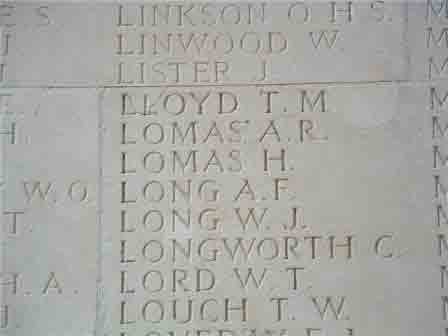 Pt Harry Lomas' name on the Memorial