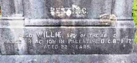Willie's commemoration on his father's grave