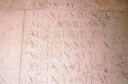 AB McCrerie's name on the Arras Memorial