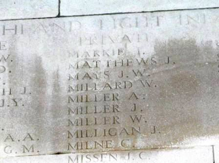 Auguste's name on the Memorial