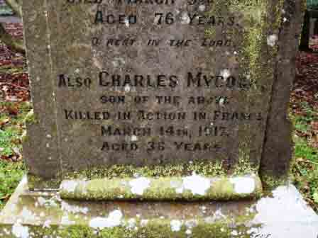 Charles' name on his parents' grave