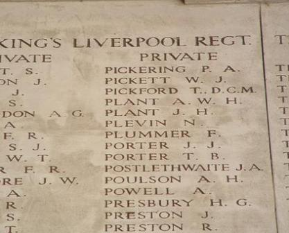 Pt Arthur Plant's name on the Memorial