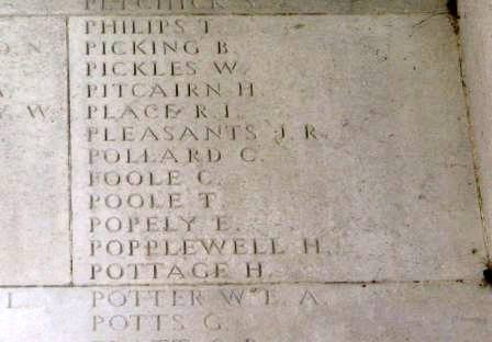 Charles' name on the Memorial