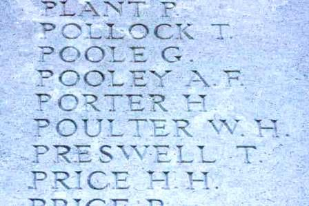 Harry Porter's name on the Memorial