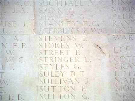 Thomas' name on the Memorial