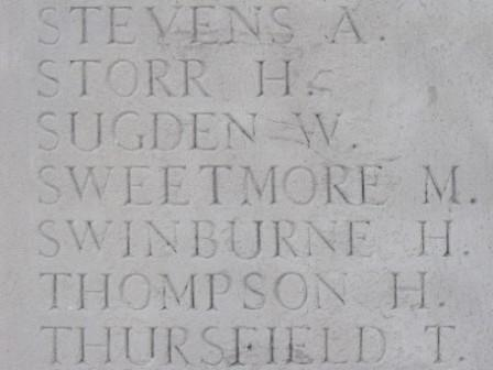 Matthew Sweetmore's name on the Pozieres Memorial