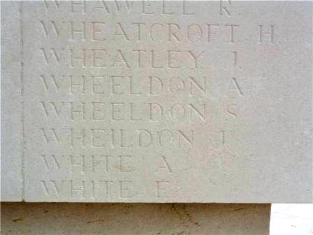 Sam Wheeldon's name on the Memorial